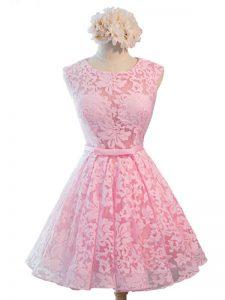 Sleeveless Knee Length Belt Lace Up Dama Dress with Baby Pink