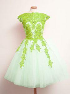 Tulle Lace Up Vestidos de Damas Sleeveless Mini Length Appliques