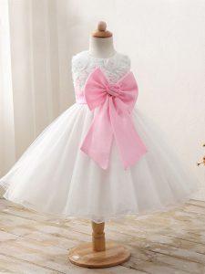 Scoop Sleeveless Organza Little Girls Pageant Dress Bowknot Zipper