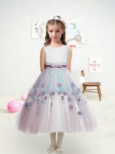 Scoop Sleeveless Tulle Flower Girl Dresses Appliques and Belt Zipper