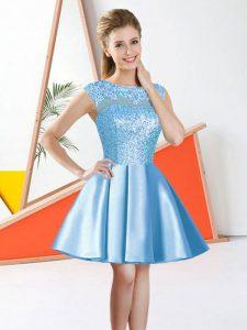 Aqua Blue Bateau Backless Beading and Lace Bridesmaids Dress Sleeveless