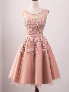 Fantastic Pink Scoop Neckline Lace Dama Dress Sleeveless Lace Up
