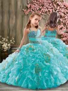 Eye-catching Ball Gowns Sleeveless Aqua Blue Kids Pageant Dress Brush Train Lace Up