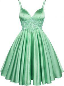 Fantastic Lace Up Spaghetti Straps Lace Quinceanera Dama Dress Elastic Woven Satin Sleeveless