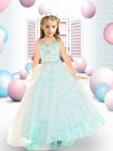 Beautiful Aqua Blue Sleeveless Beading Floor Length Kids Formal Wear