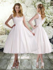 Appliques Wedding Dresses White Lace Up Sleeveless Tea Length