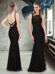 Chic Sleeveless Lace Criss Cross Vestidos de Damas