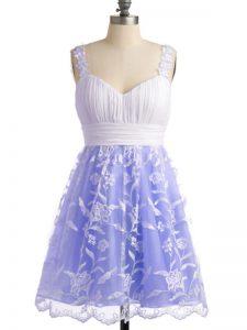 High End Lavender Sleeveless Lace Knee Length Vestidos de Damas