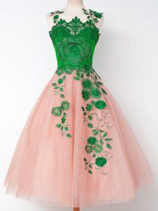 Straps Sleeveless Lace Up Dama Dress Pink Tulle