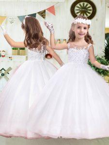 Custom Designed Tulle Sleeveless Floor Length Flower Girl Dress and Beading and Appliques