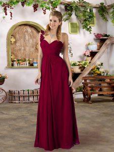 Burgundy Sleeveless Floor Length Ruffles and Ruching Zipper Court Dresses for Sweet 16