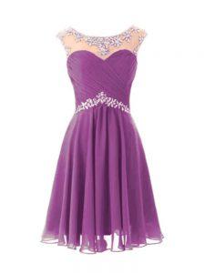 Gorgeous Purple Cap Sleeves Beading Knee Length Evening Dress