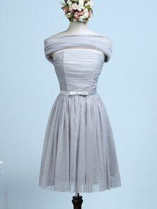 Modern Mini Length Empire Sleeveless Grey Quinceanera Court Dresses Side Zipper