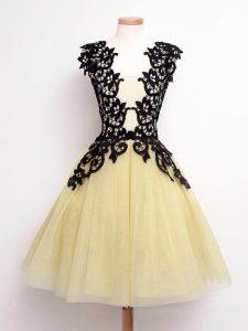 Sleeveless Lace Lace Up Wedding Party Dress
