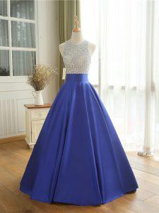 Scoop Sleeveless Satin Homecoming Dress Beading Backless
