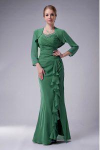 Deluxe Green Zipper Mother of Groom Dress Beading Sleeveless Floor Length