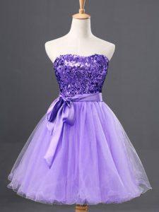 Elegant Lavender Zipper Sweetheart Sequins Prom Homecoming Dress Tulle Sleeveless