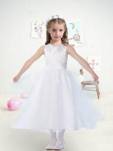 Scoop Sleeveless Toddler Flower Girl Dress Tea Length Beading and Belt White Tulle