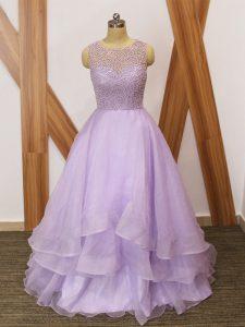 Excellent Lavender Sleeveless Brush Train Beading and Ruffles Red Carpet Prom Dress