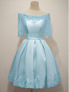 Custom Made Off The Shoulder Half Sleeves Court Dresses for Sweet 16 Knee Length Lace Light Blue Taffeta