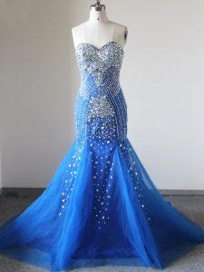 Brush Train Mermaid Formal Dresses Royal Blue Sweetheart Tulle Sleeveless Zipper