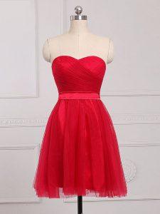 Red Sleeveless Ruching Mini Length Bridesmaid Dress