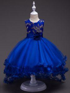 Discount Royal Blue Sleeveless High Low Appliques and Hand Made Flower Zipper Little Girl Pageant Dress