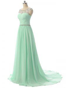 Classical Beading and Ruching Evening Gowns Apple Green Zipper Sleeveless Brush Train