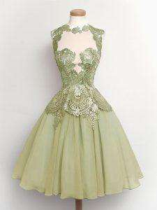 Customized Olive Green A-line Lace Dama Dress Lace Up Chiffon Sleeveless Knee Length