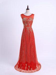 Elegant Red Tulle Zipper Evening Dresses Sleeveless Floor Length Beading