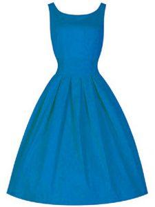 Charming Scoop Sleeveless Zipper Quinceanera Dama Dress Blue Taffeta