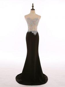 Column/Sheath Sleeveless Black Evening Wear Brush Train Zipper