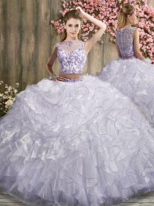 Hot Sale White 15 Quinceanera Dress Bateau Sleeveless Sweep Train Zipper