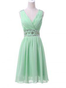 Apple Green V-neck Zipper Beading and Ruching Quinceanera Dama Dress Sleeveless