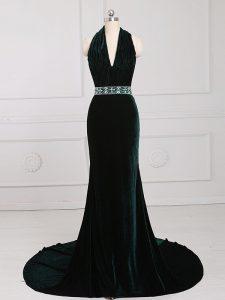 Dark Green Halter Top Neckline Beading Going Out Dresses Sleeveless Zipper