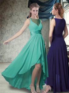 Green A-line Belt Dama Dress for Quinceanera Zipper Chiffon Sleeveless High Low