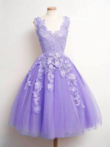 Artistic Knee Length Lavender Vestidos de Damas Tulle Sleeveless Lace