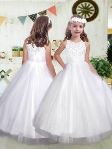 Floor Length White Toddler Flower Girl Dress Tulle Sleeveless Beading
