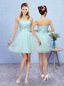 Aqua Blue A-line Tulle Sweetheart Sleeveless Appliques Mini Length Lace Up Bridesmaids Dress