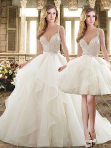 Custom Designed White Bridal Gown Organza Brush Train Sleeveless Beading and Ruffles