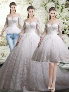 3 4 Length Sleeve Chapel Train Lace Zipper Wedding Dresses