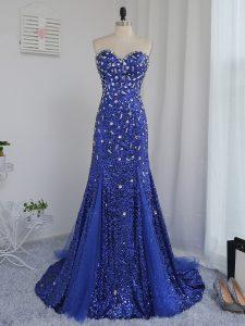 Customized Royal Blue Sweetheart Neckline Beading and Sequins Evening Dress Sleeveless Zipper