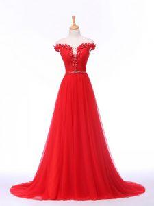 Wonderful Empire Sleeveless Red Formal Dresses Brush Train Lace Up