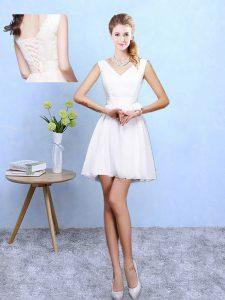 Mini Length White Dama Dress V-neck Sleeveless Lace Up