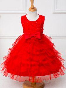 Ball Gowns Flower Girl Dresses for Less Red Scoop Organza Sleeveless Tea Length Zipper