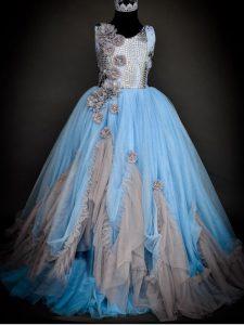 Stylish Floor Length Light Blue Kids Pageant Dress Scoop Sleeveless Backless