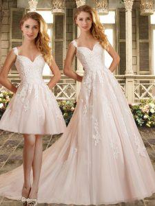 Enchanting Sleeveless Brush Train Clasp Handle Lace Wedding Dress