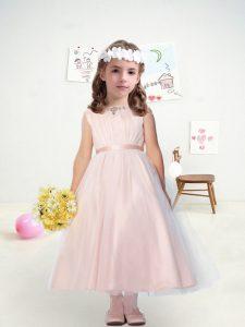 Sleeveless Tulle Ankle Length Zipper Flower Girl Dresses in Pink with Belt