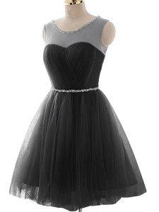 Mini Length A-line Sleeveless Black Lace Up