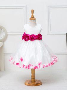 Tulle Scoop Sleeveless Zipper Appliques and Hand Made Flower Toddler Flower Girl Dress in White